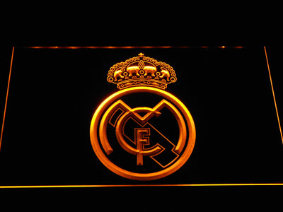 Real Madrid CF Crest LED Neon Sign - Yellow - SafeSpecial