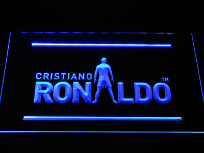 Real Madrid CF Cristiano Ronaldo Silhouette LED Neon Sign - Blue - SafeSpecial