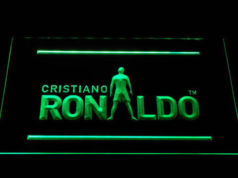 Image of Real Madrid CF Cristiano Ronaldo Silhouette LED Neon Sign - Green - SafeSpecial