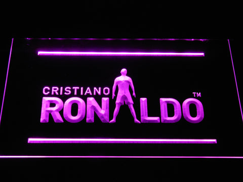 Image of Real Madrid CF Cristiano Ronaldo Silhouette LED Neon Sign - Purple - SafeSpecial