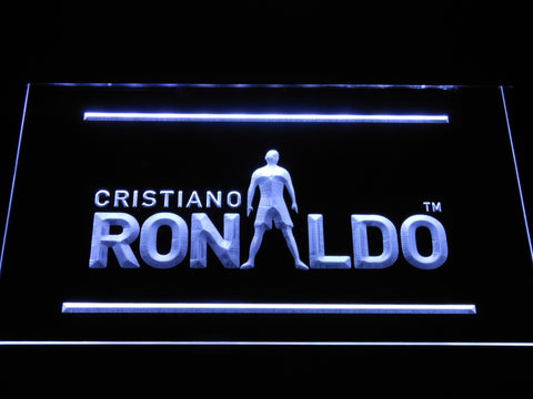 Image of Real Madrid CF Cristiano Ronaldo Silhouette LED Neon Sign - White - SafeSpecial