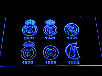 Real Madrid CF Logos LED Neon Sign - Blue - SafeSpecial