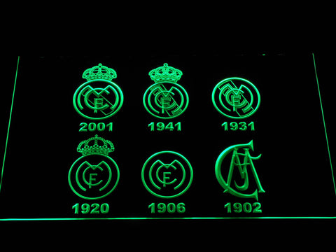 Real Madrid CF Logos LED Neon Sign - Green - SafeSpecial