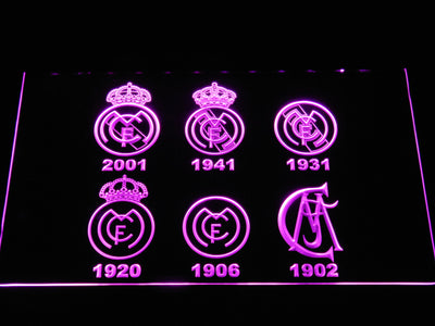 Real Madrid CF Logos LED Neon Sign - Purple - SafeSpecial