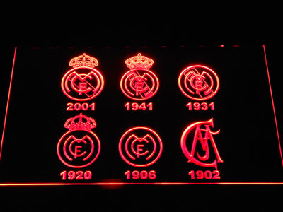 Real Madrid CF Logos LED Neon Sign - Red - SafeSpecial