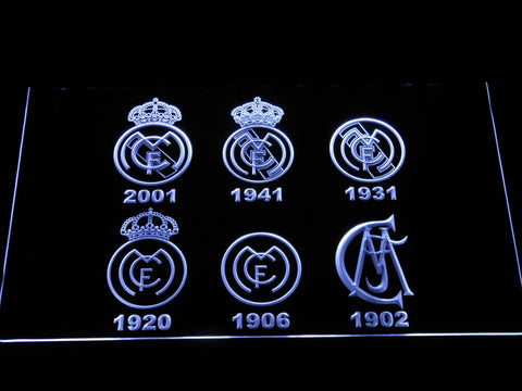 Real Madrid CF Logos LED Neon Sign - White - SafeSpecial