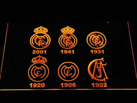Real Madrid CF Logos LED Neon Sign - Yellow - SafeSpecial