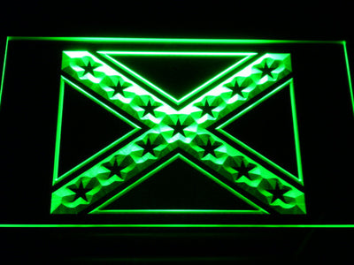 Rebel Confederate Flag LED Neon Sign - Green - SafeSpecial