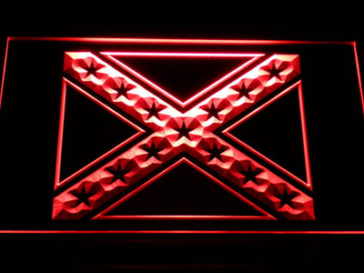 Rebel Confederate Flag LED Neon Sign - Red - SafeSpecial