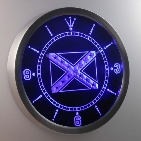 Rebel Confederate Flag LED Neon Wall Clock - Blue - SafeSpecial
