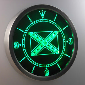 Rebel Confederate Flag LED Neon Wall Clock - Green - SafeSpecial