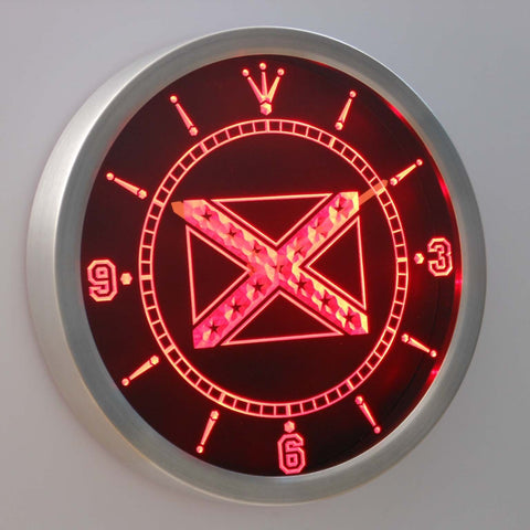 Rebel Confederate Flag LED Neon Wall Clock - Red - SafeSpecial