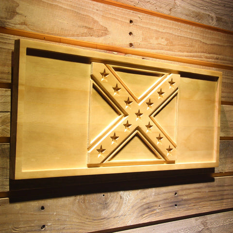 Rebel Confederate Flag Wooden Sign - - SafeSpecial
