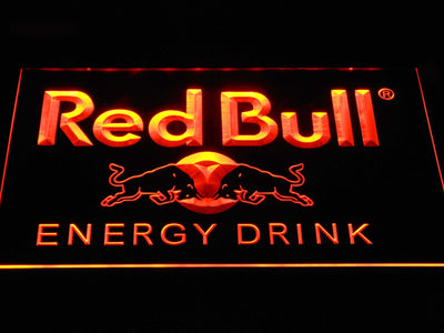 Red Bull Energy Drink LED Neon Sign - Orange - SafeSpecial
