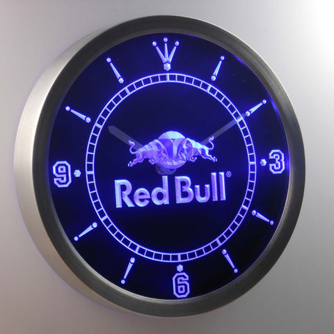 Red Bull LED Neon Wall Clock - Blue - SafeSpecial