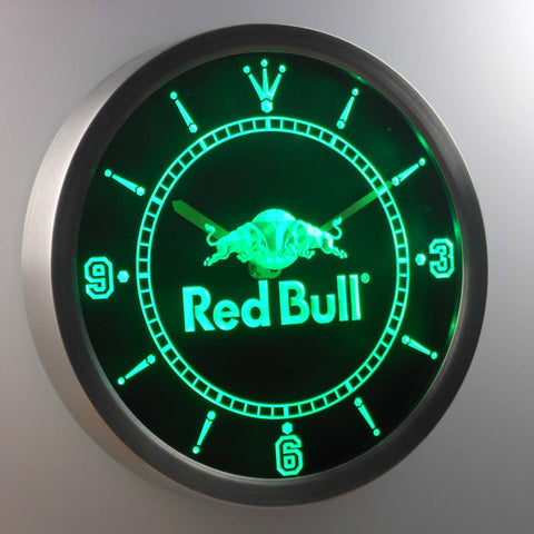Red Bull LED Neon Wall Clock - Green - SafeSpecial