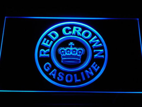 Image of Red Crown Gasoline LED Neon Sign - Blue - SafeSpecial