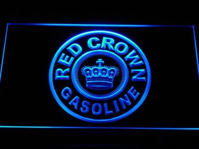 Red Crown Gasoline LED Neon Sign - Blue - SafeSpecial