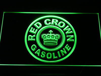 Red Crown Gasoline LED Neon Sign - Green - SafeSpecial