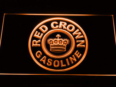 Red Crown Gasoline LED Neon Sign - Orange - SafeSpecial