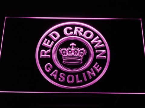 Red Crown Gasoline LED Neon Sign - Purple - SafeSpecial