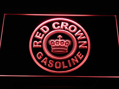 Red Crown Gasoline LED Neon Sign - Red - SafeSpecial