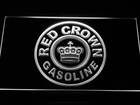 Red Crown Gasoline LED Neon Sign - White - SafeSpecial