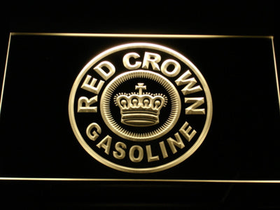 Red Crown Gasoline LED Neon Sign - Yellow - SafeSpecial