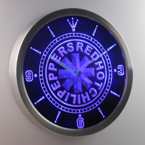Image of Red Hot Chili Peppers LED Neon Wall Clock - Blue - SafeSpecial
