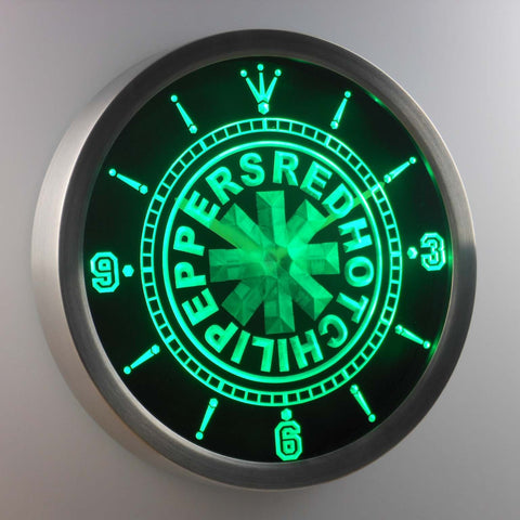 Image of Red Hot Chili Peppers LED Neon Wall Clock - Green - SafeSpecial