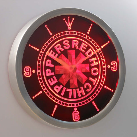 Image of Red Hot Chili Peppers LED Neon Wall Clock - Red - SafeSpecial