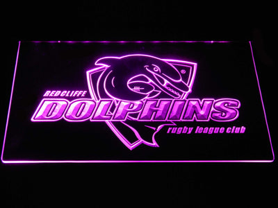 Redcliffe Dolphins LED Neon Sign - Purple - SafeSpecial