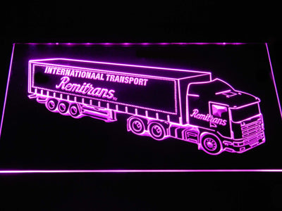 Remitrans Truck LED Neon Sign - Purple - SafeSpecial