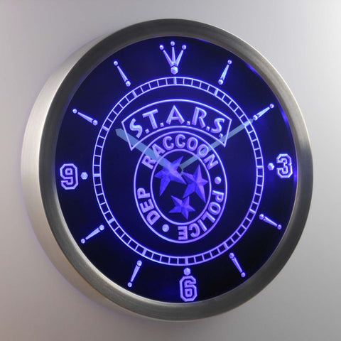 Image of Resident Evil STARS LED Neon Wall Clock - Blue - SafeSpecial
