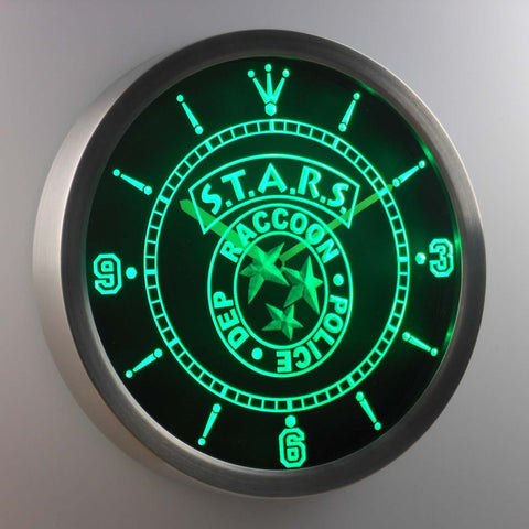 Image of Resident Evil STARS LED Neon Wall Clock - Green - SafeSpecial