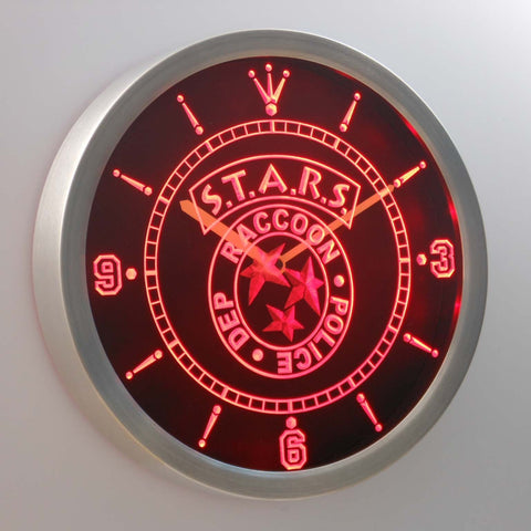 Image of Resident Evil STARS LED Neon Wall Clock - Red - SafeSpecial