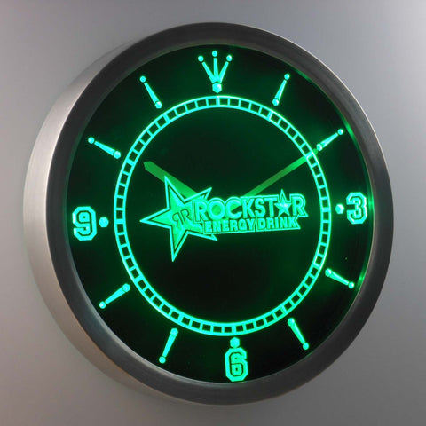 Image of Rockstar LED Neon Wall Clock - Green - SafeSpecial
