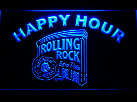 Rolling Rock Happy Hour LED Neon Sign - Blue - SafeSpecial