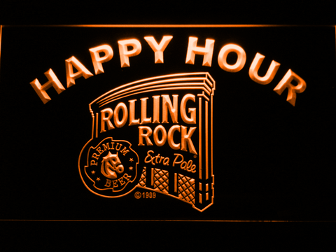 Image of Rolling Rock Happy Hour LED Neon Sign - Orange - SafeSpecial