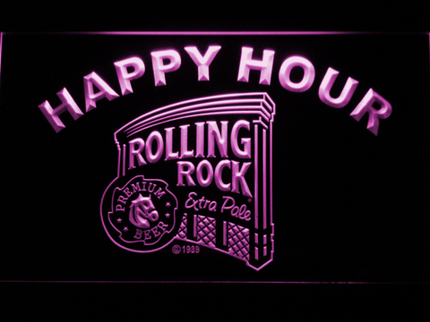 Image of Rolling Rock Happy Hour LED Neon Sign - Purple - SafeSpecial