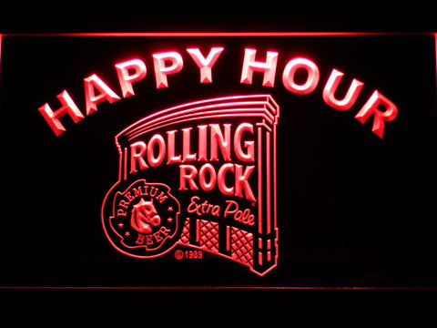 Rolling Rock Happy Hour LED Neon Sign - Red - SafeSpecial