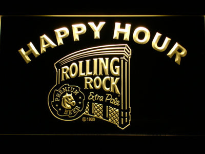 Rolling Rock Happy Hour LED Neon Sign - Yellow - SafeSpecial