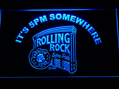 Rolling Rock It's 5pm Somewhere LED Neon Sign - Blue - SafeSpecial