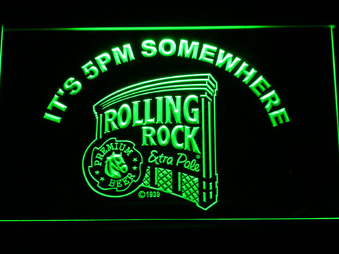 Rolling Rock It's 5pm Somewhere LED Neon Sign - Green - SafeSpecial