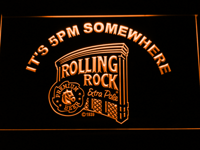 Rolling Rock It's 5pm Somewhere LED Neon Sign - Orange - SafeSpecial
