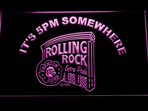 Image of Rolling Rock It's 5pm Somewhere LED Neon Sign - Purple - SafeSpecial