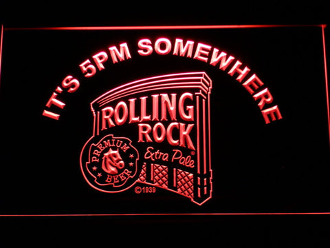 Rolling Rock It's 5pm Somewhere LED Neon Sign - Red - SafeSpecial