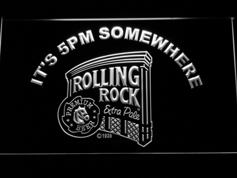 Image of Rolling Rock It's 5pm Somewhere LED Neon Sign - White - SafeSpecial