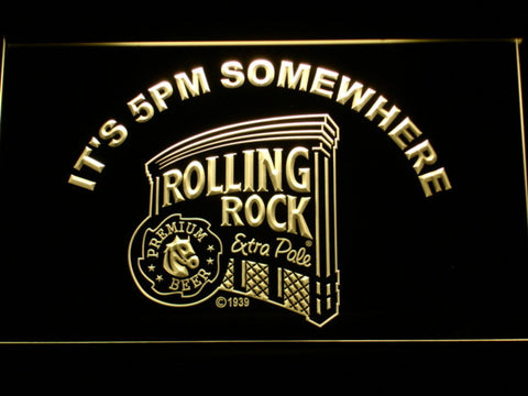 Rolling Rock It's 5pm Somewhere LED Neon Sign - Yellow - SafeSpecial