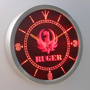 Ruger LED Neon Wall Clock - Red - SafeSpecial